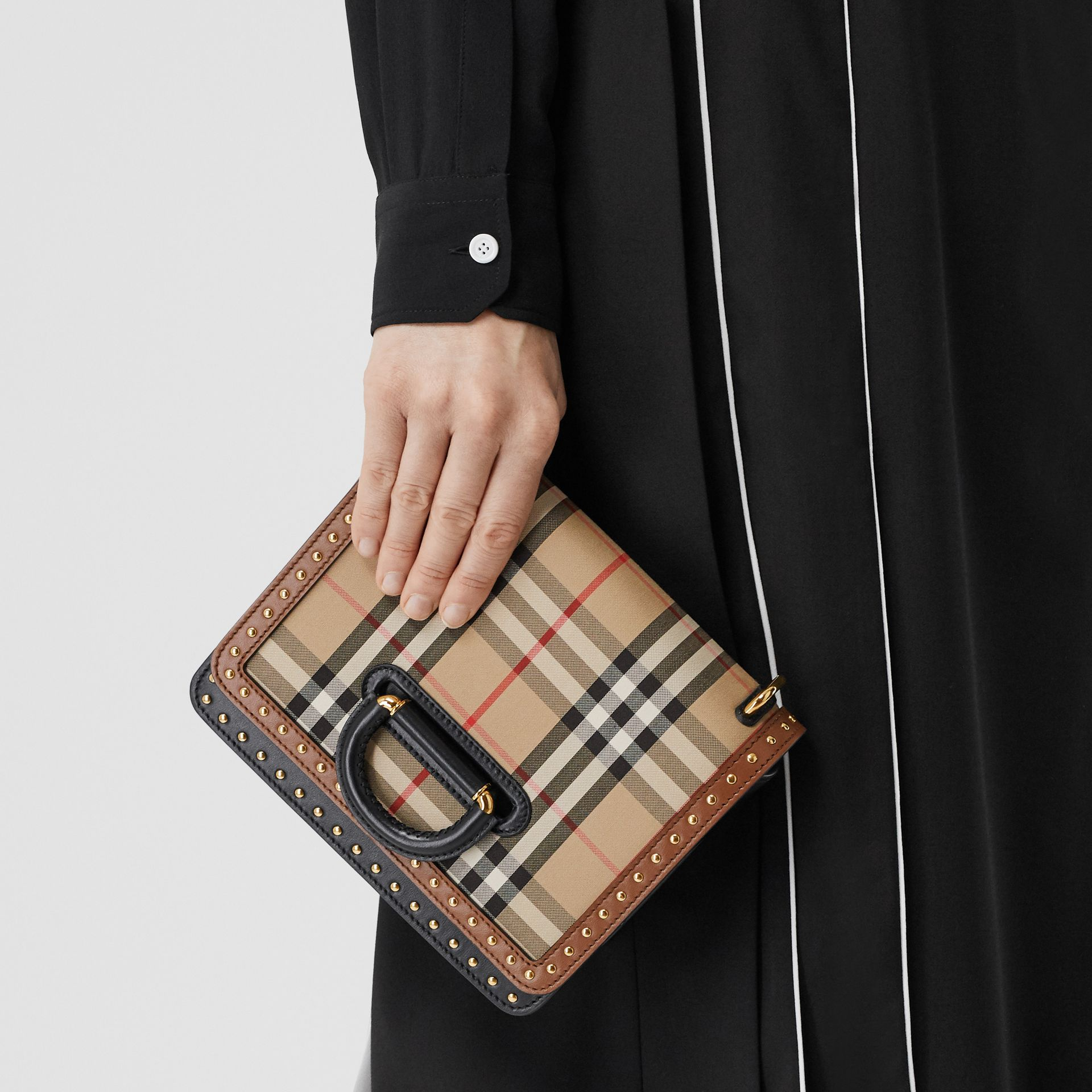 The Small Leather and Vintage Check D-ring Bag in Archive Beige - Women | Burberry United States - gallery image 8