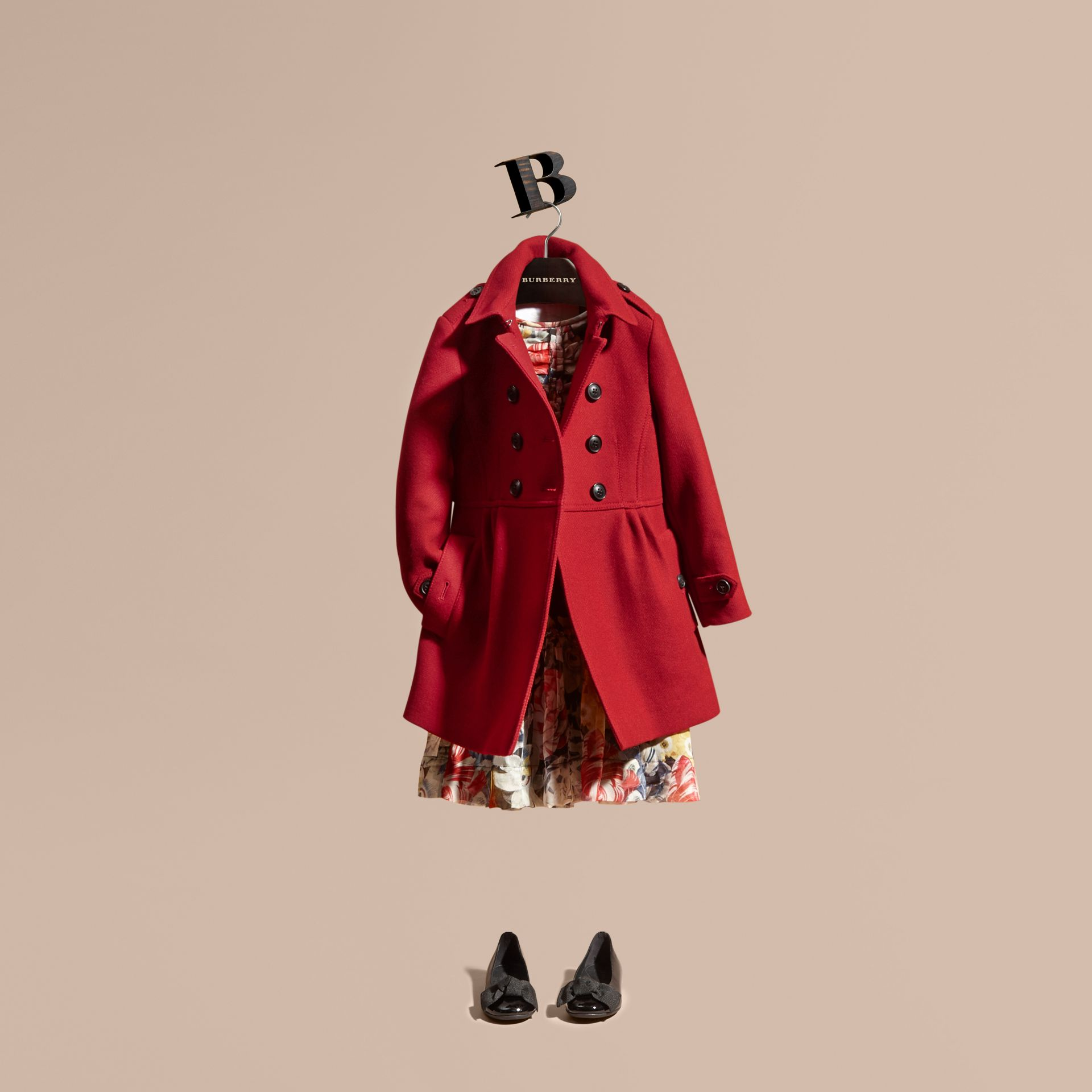 Damson red Tailored Wool Cashmere Blend Coat Damson - gallery image 1