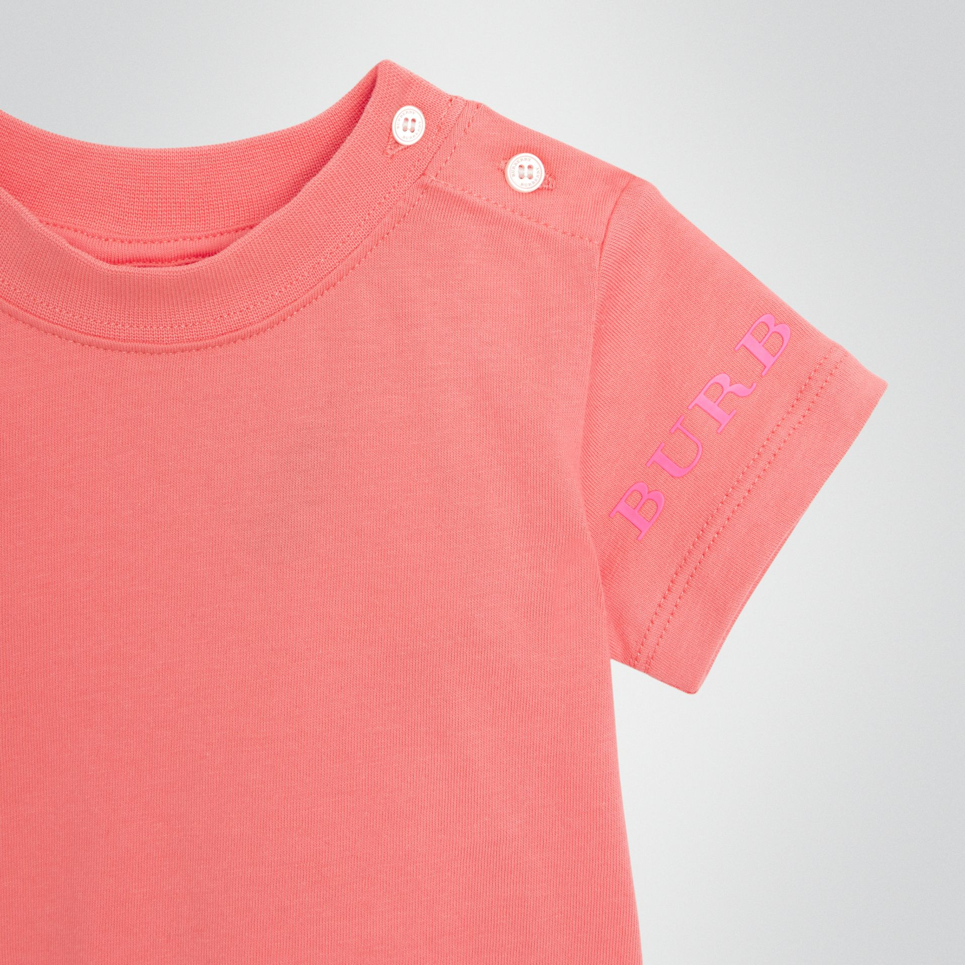 Logo Print Cotton T-shirt in Bright Pink - Children | Burberry - gallery image 4