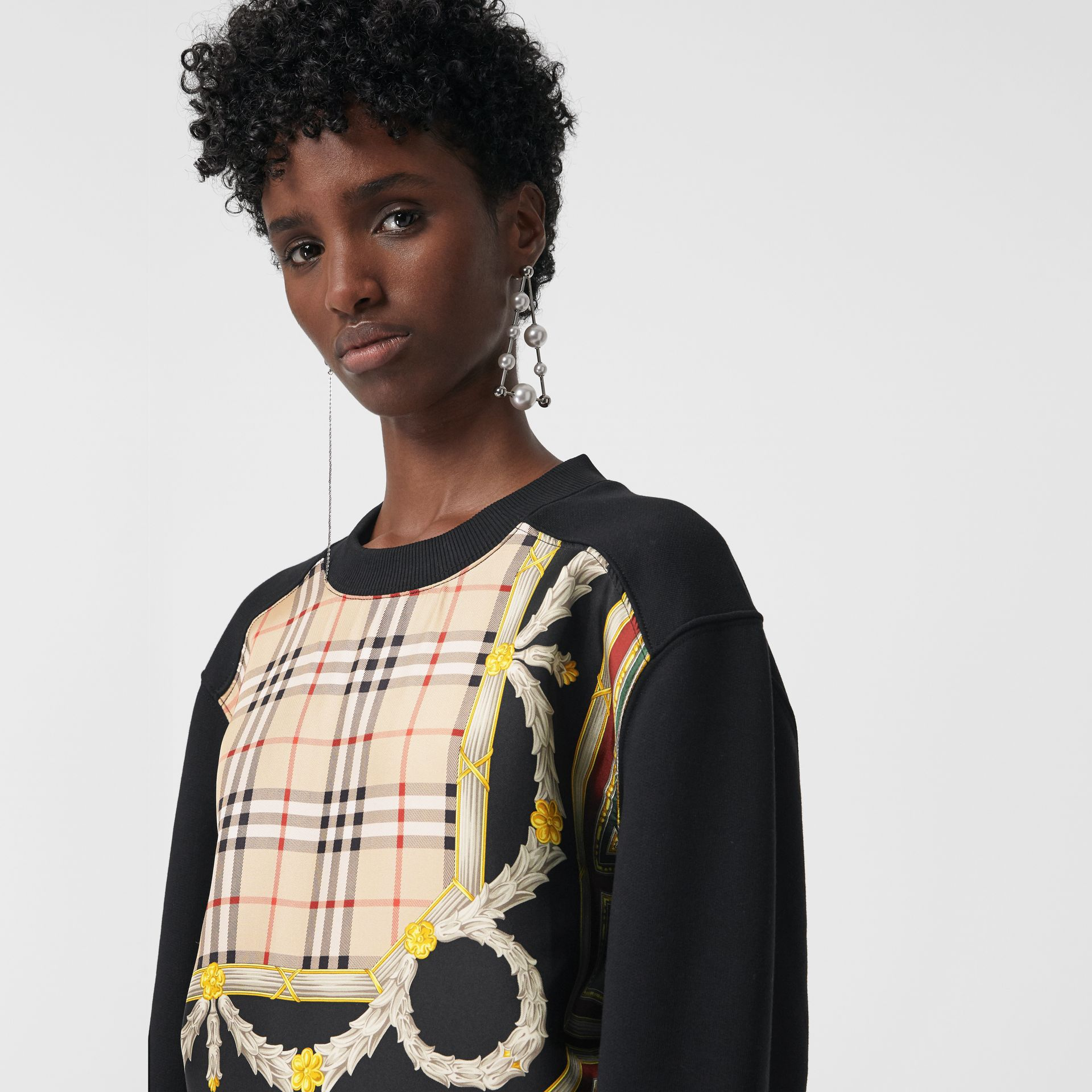 Archive Scarf Print Panel Sweatshirt in Black - Women | Burberry - gallery image 1