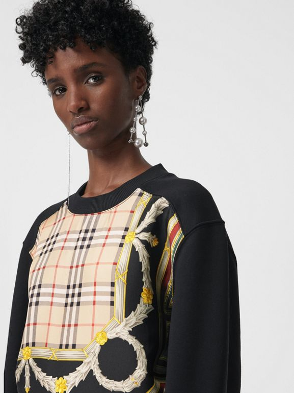Archive Scarf Print Panel Sweatshirt in Black - Women | Burberry Australia - cell image 1