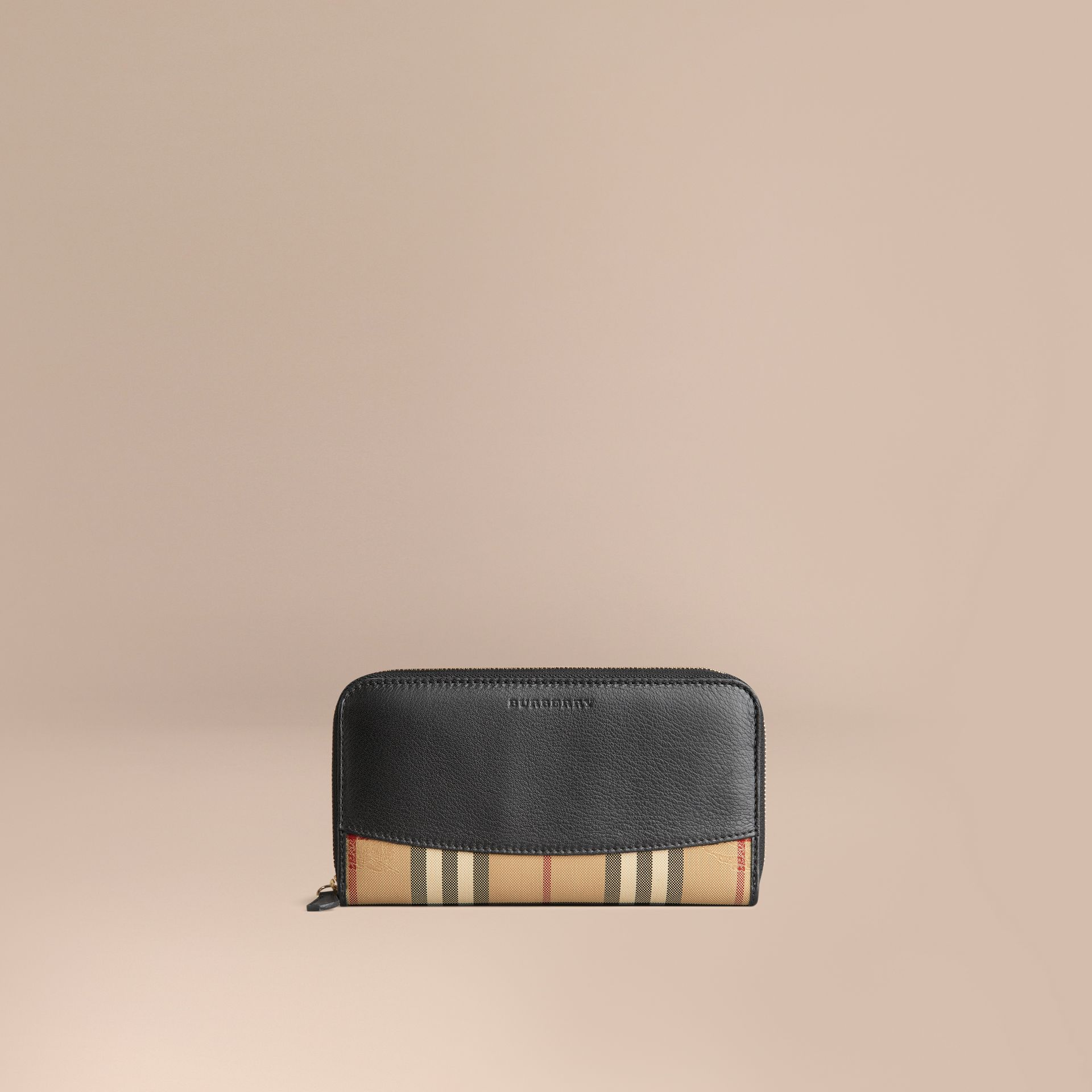Horseferry Check and Leather Ziparound Wallet in Black - Women | Burberry - gallery image 1
