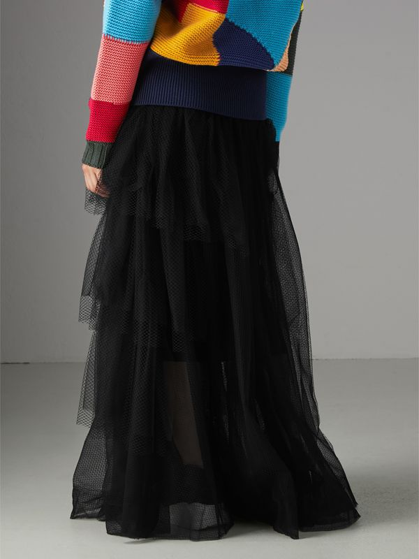 Tiered Open-net Tulle Skirt in Black - Women | Burberry - cell image 2