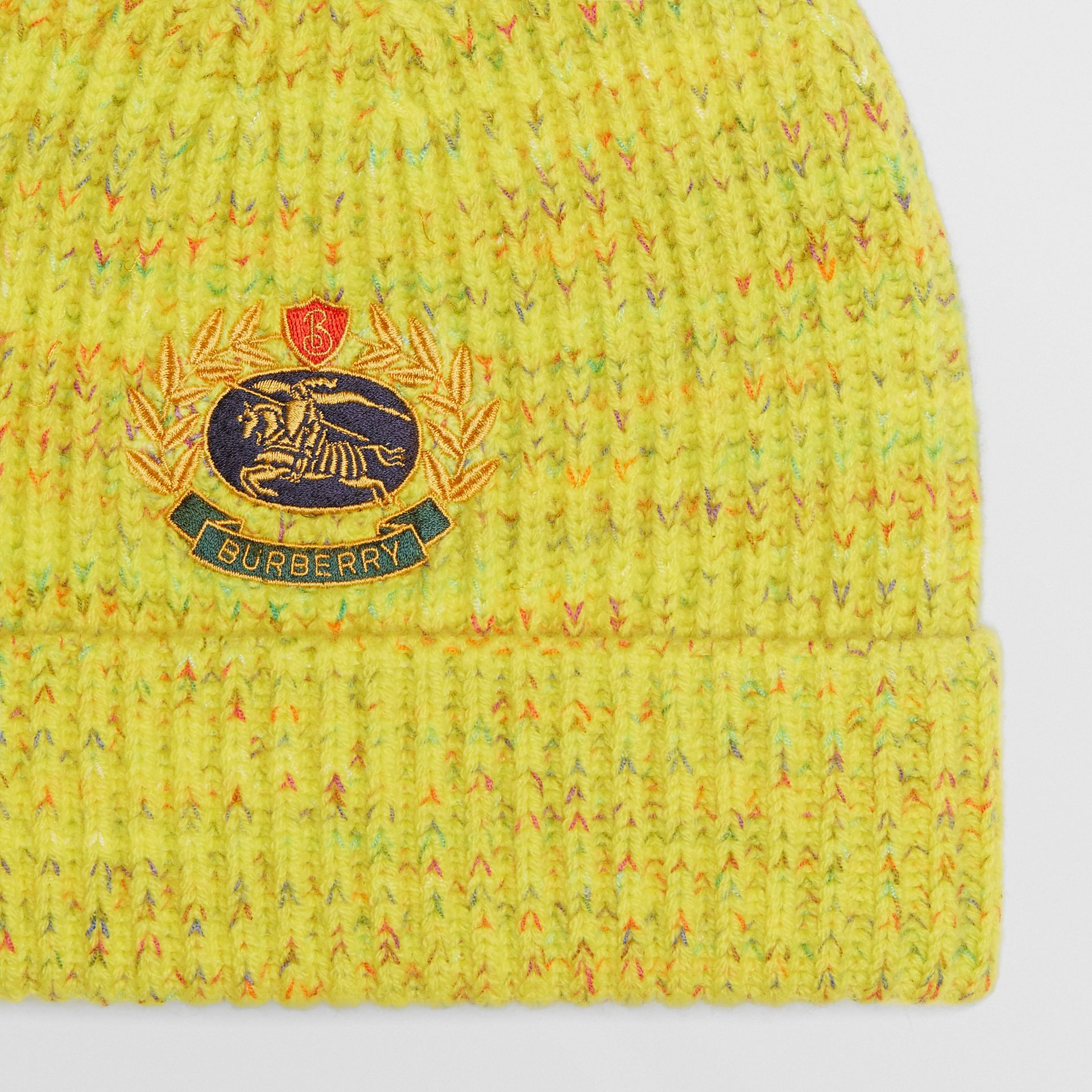 Embroidered Archive Logo Wool Blend Beanie in Gorse Yellow | Burberry United Kingdom - gallery image 1