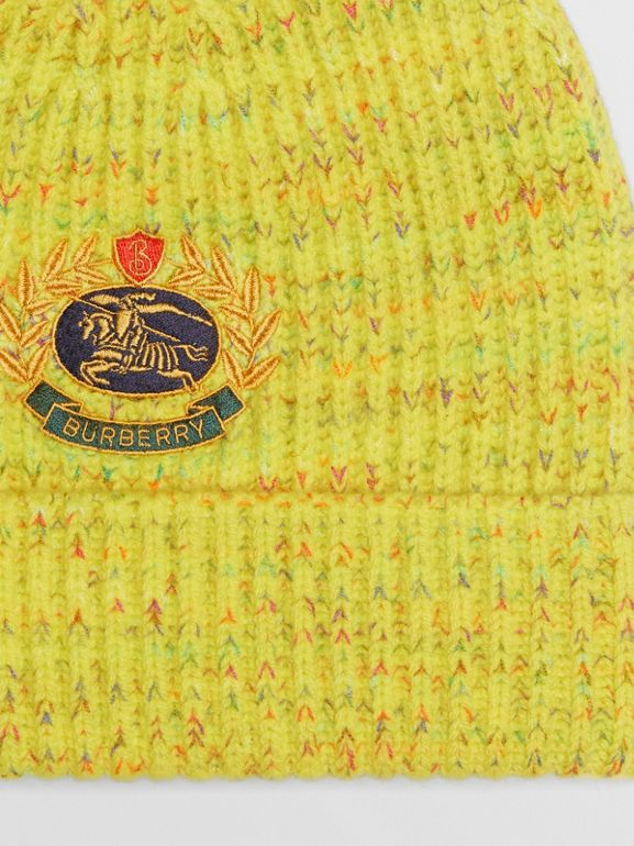 Embroidered Archive Logo Wool Blend Beanie in Gorse Yellow | Burberry - cell image 1