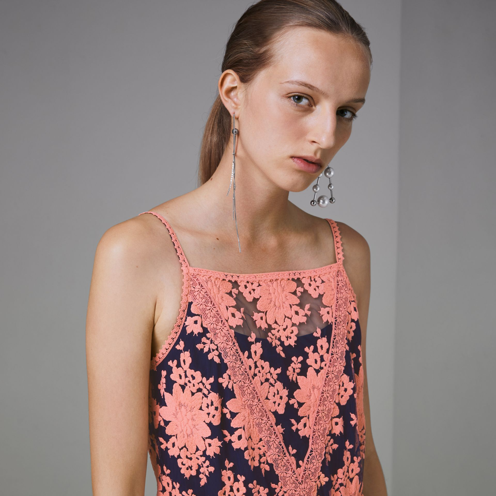 Floral-embroidered Sleeveless Dress in Rose/midnight Blue - Women | Burberry Hong Kong - gallery image 1