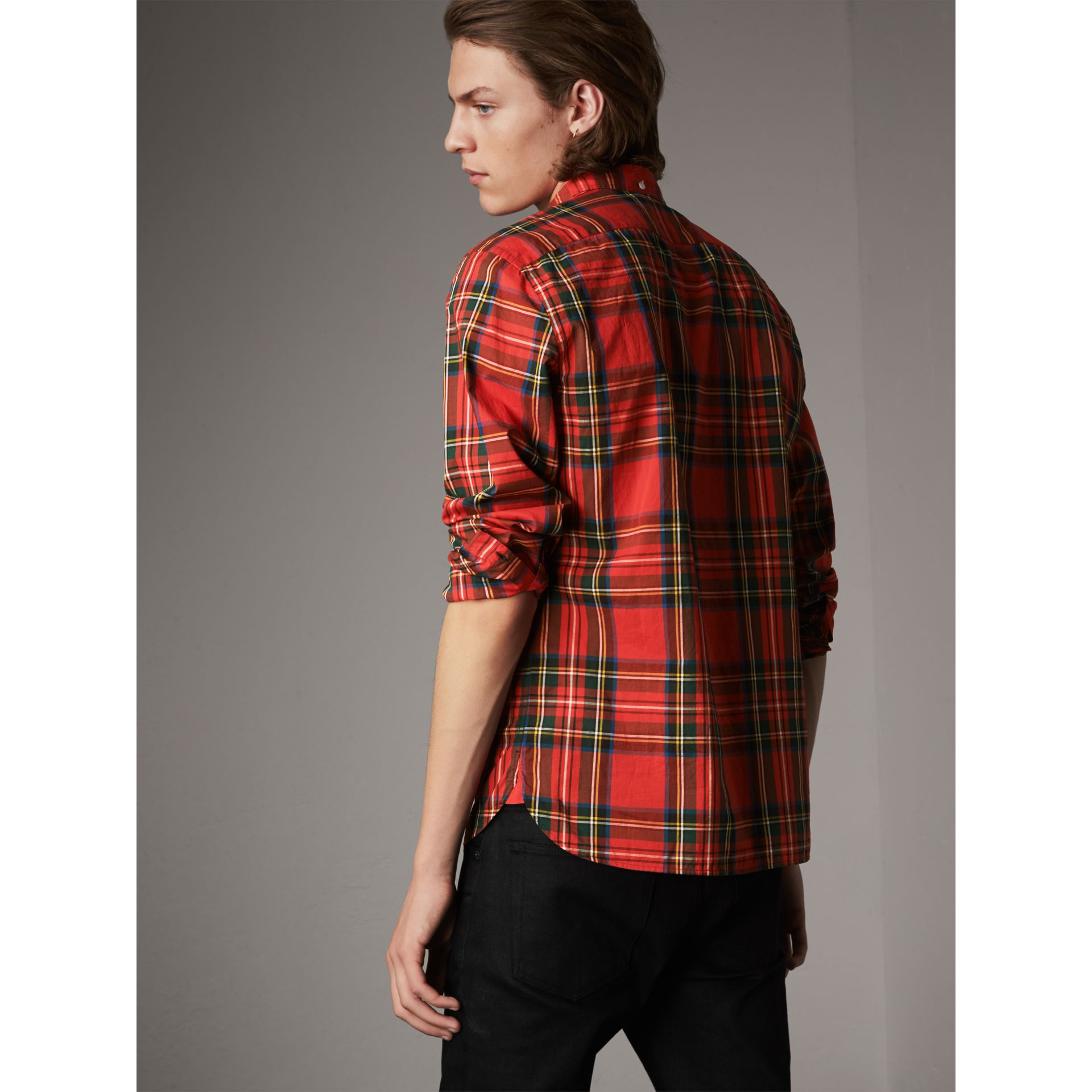 Tartan Cotton Button-down Collar Shirt in Bright Red - Men | Burberry United Kingdom - gallery image 3