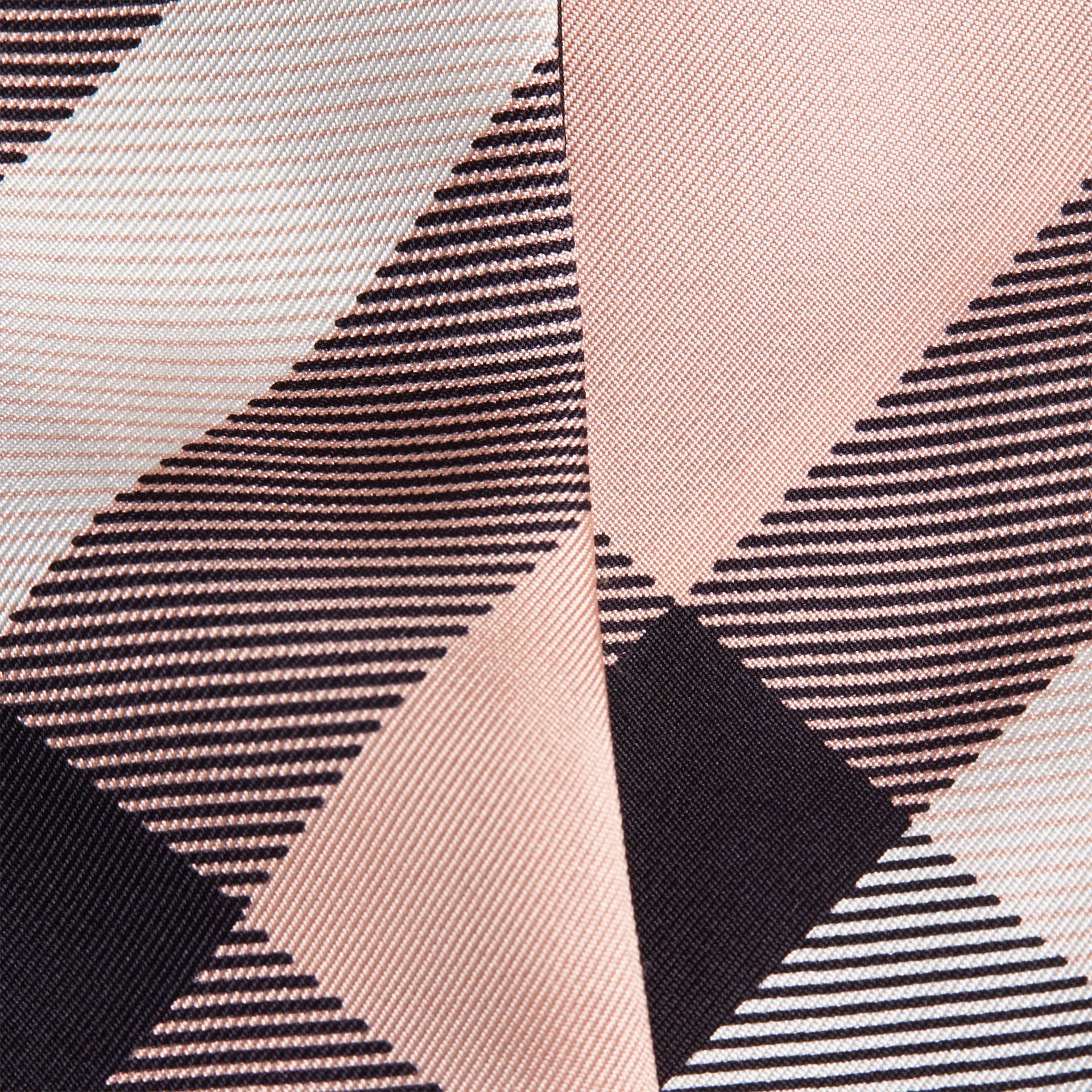 Rosa cenere Sciarpa sottile in seta con stampa con motivo check Rosa Cenere - immagine della galleria 2