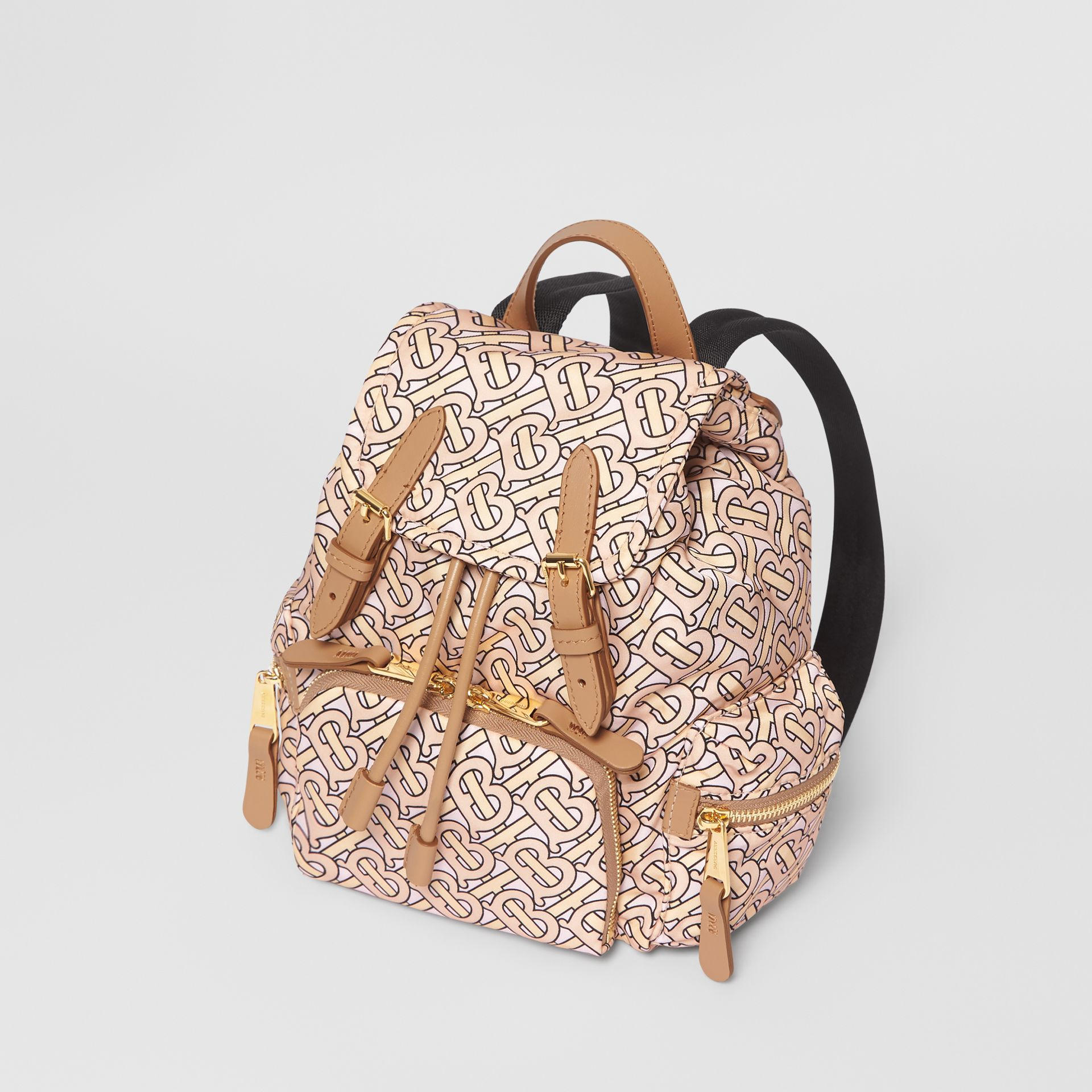 The Small Rucksack in Monogram Print Nylon in Blush - Women | Burberry Australia - gallery image 3