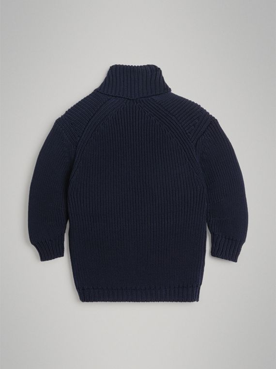 Cotton Knit Pea Coat Cardigan in Navy - Boy | Burberry Australia - cell image 3