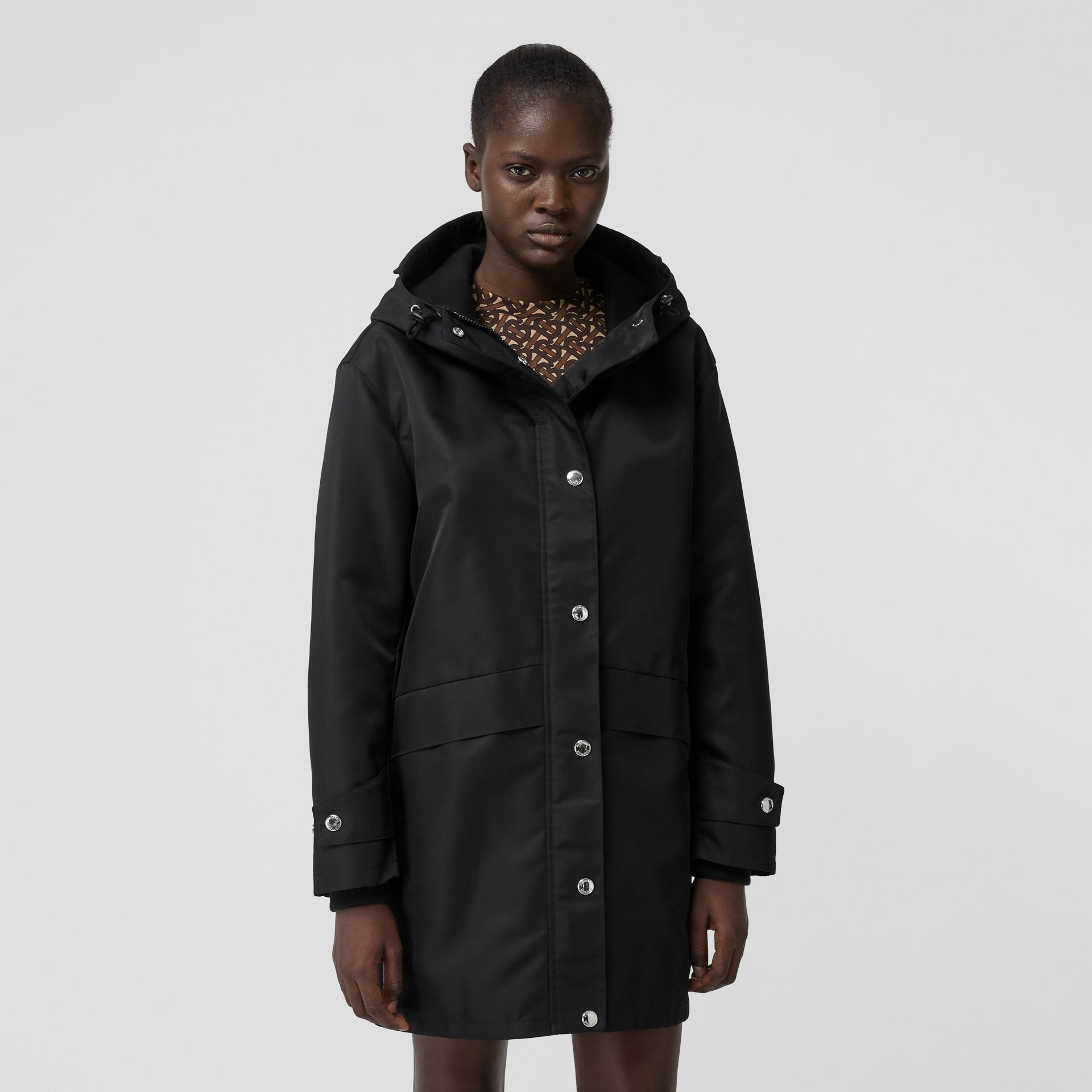 Horseferry Print Nylon Twill Parka in Black - Women | Burberry - gallery image 6