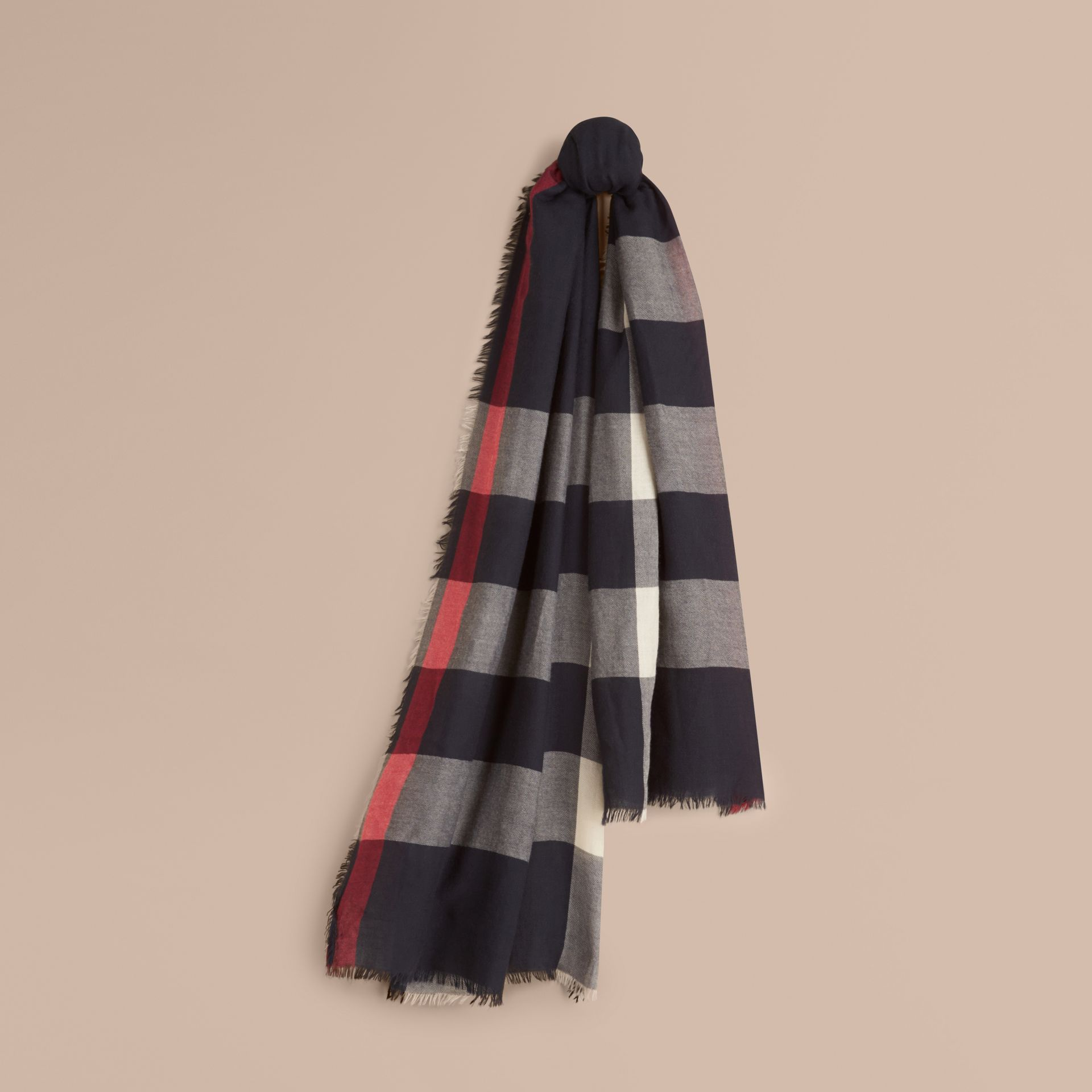 The Lightweight Cashmere Scarf in Check Navy - gallery image 6