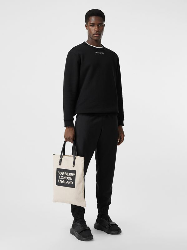 Logo Cotton Canvas Tote Bag in Natural | Burberry United Kingdom - cell image 2