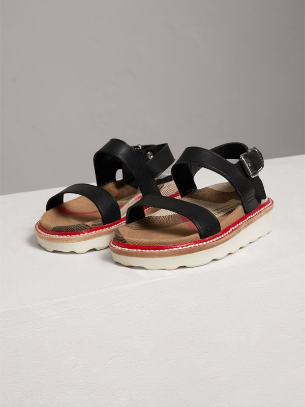 Leather and House Check Sandals in Black | Burberry - cell image 3