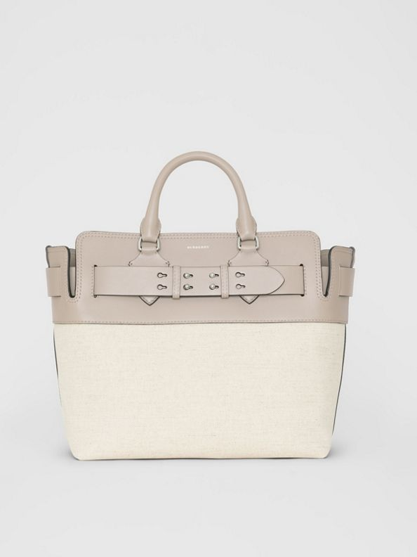 The Medium Canvas and Leather Belt Bag in Grey/stone