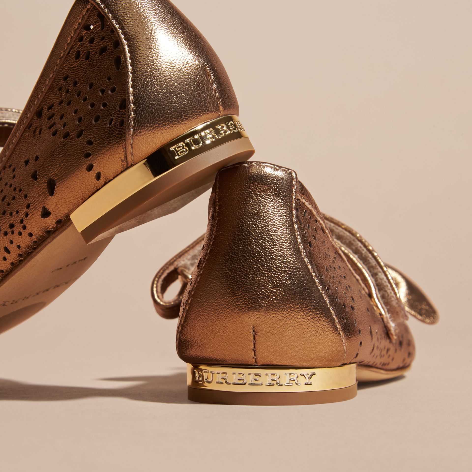Heritage gold Laser-cut Metallic Leather Ballerinas - gallery image 4