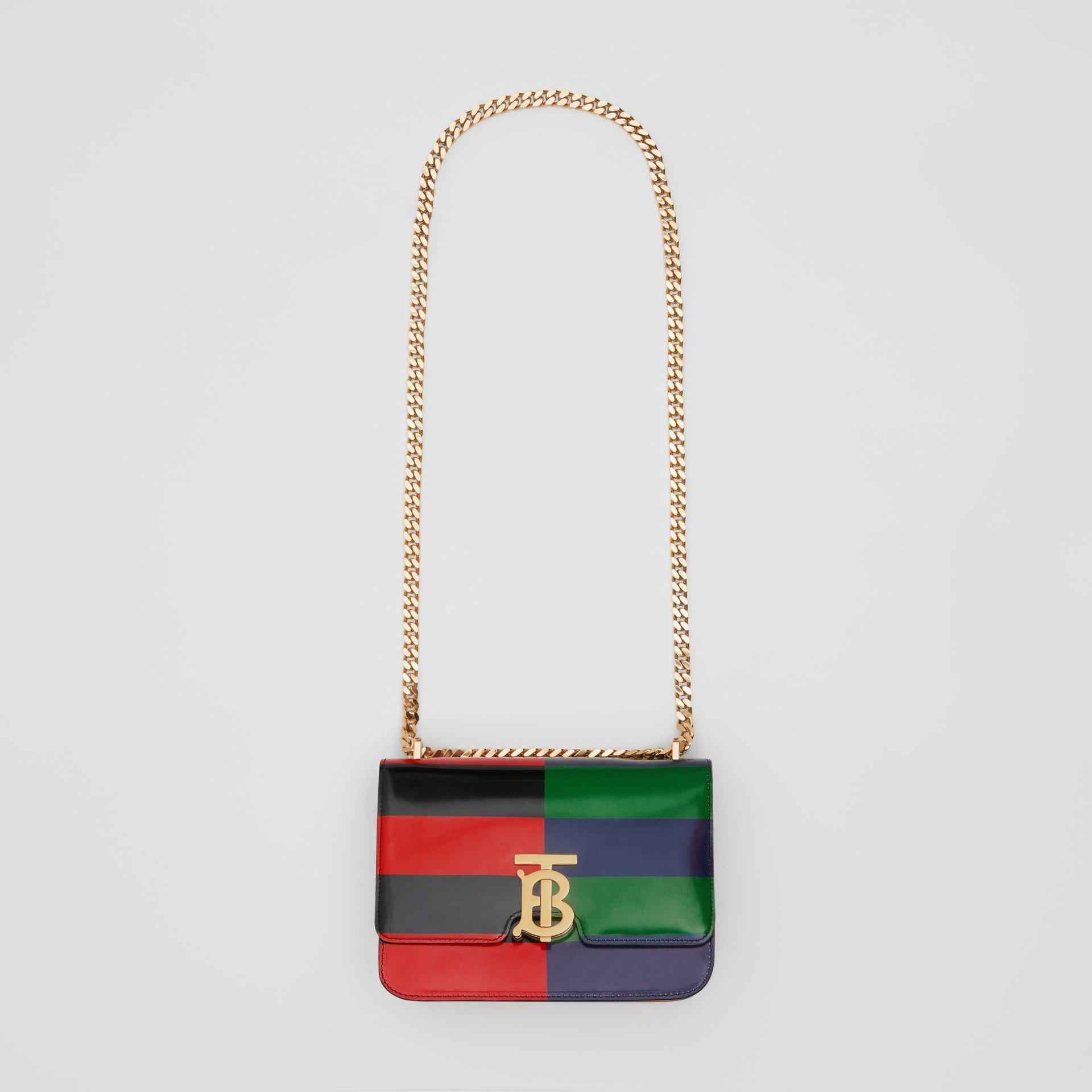 Small Striped Leather TB Bag in Black - Women | Burberry - gallery image 3