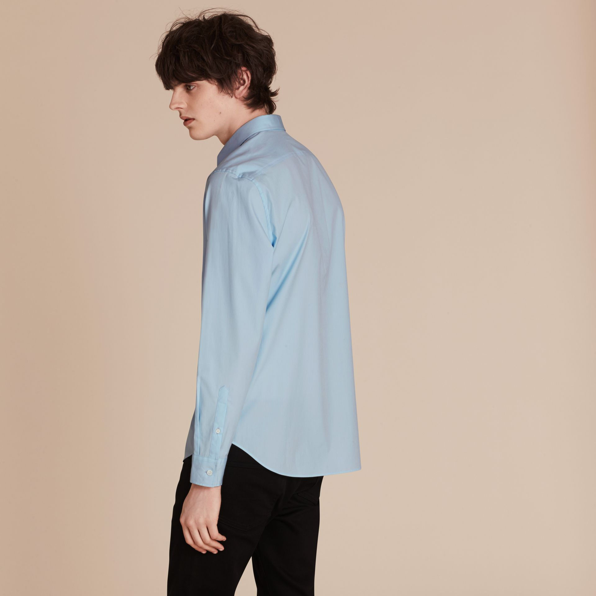 Check Detail Stretch Cotton Poplin Shirt Pale Blue - gallery image 3