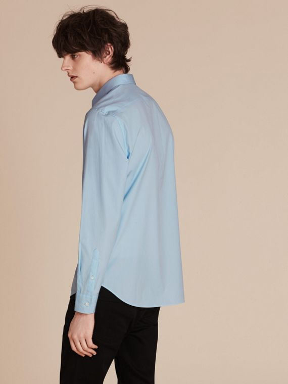 Check Detail Stretch Cotton Poplin Shirt in Pale Blue - cell image 2