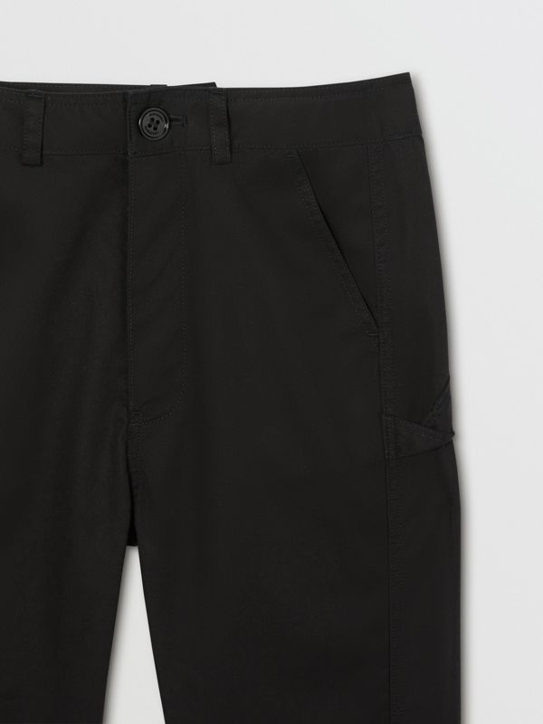 Logo Detail Cotton Twill Trousers in Black | Burberry - cell image 3