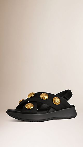 Button-embellished Sport Sandals