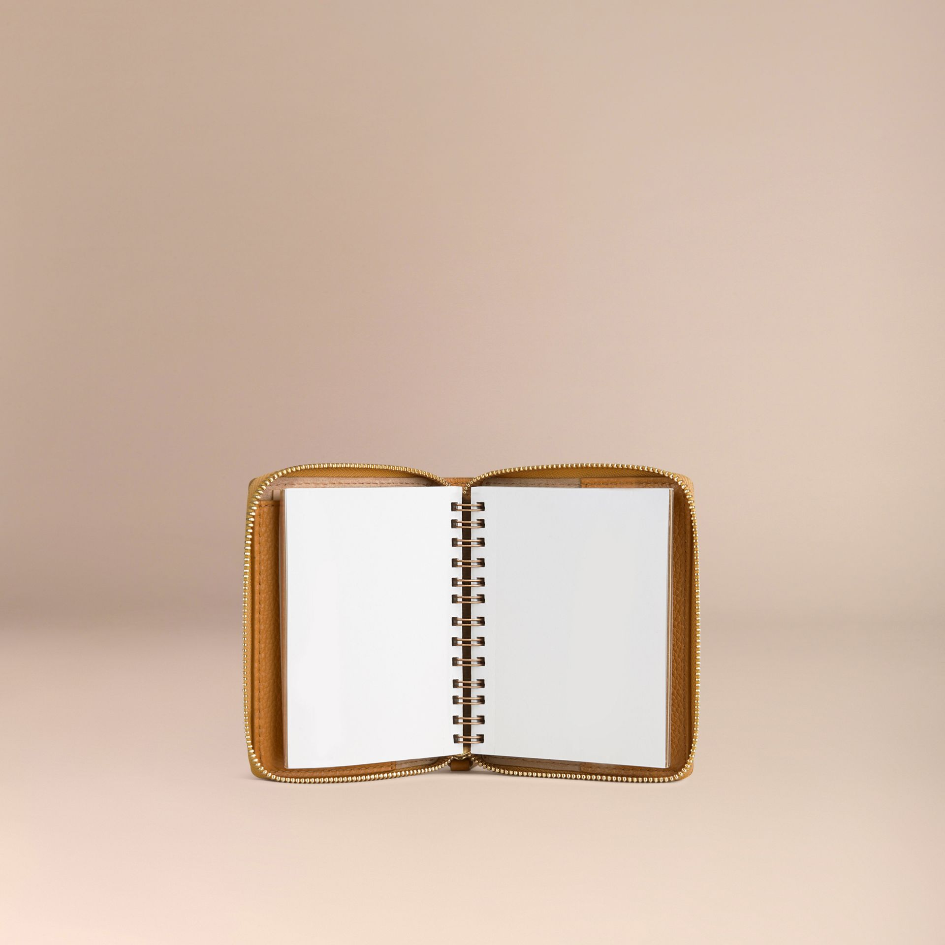 Ziparound Grainy Leather Mini Notebook in Ochre Yellow | Burberry - gallery image 3