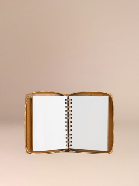 Ziparound Grainy Leather Mini Notebook in Ochre Yellow | Burberry - cell image 2