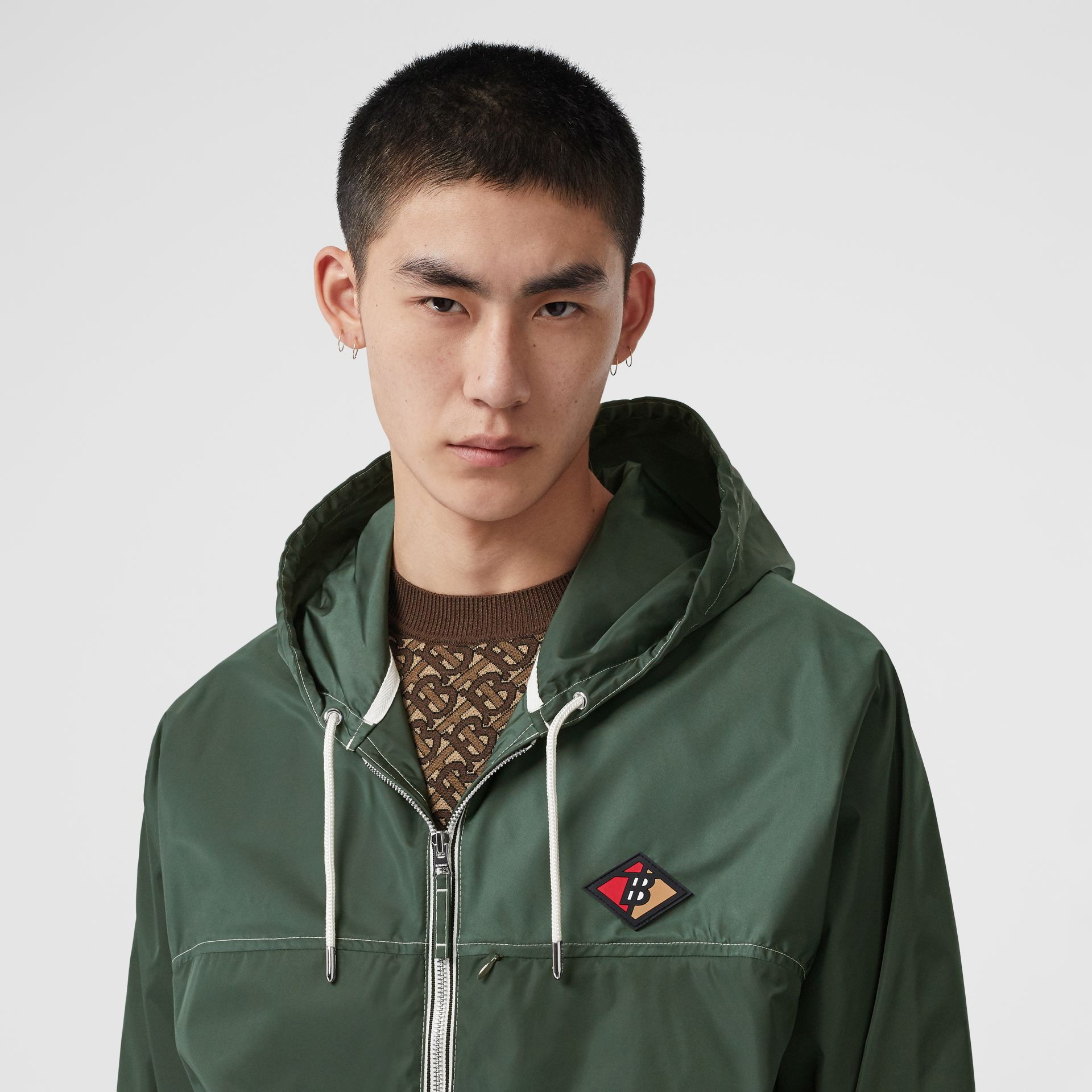 Logo Graphic Packaway Lightweight Hooded Jacket in Dark Pine Green - Men | Burberry - gallery image 1