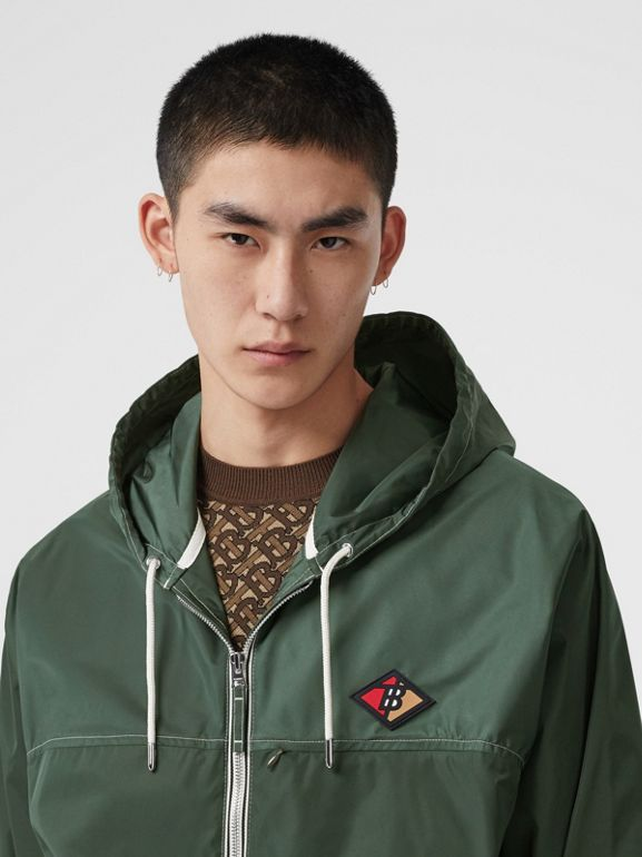 Logo Graphic Packaway Lightweight Hooded Jacket in Dark Pine Green - Men | Burberry - cell image 1