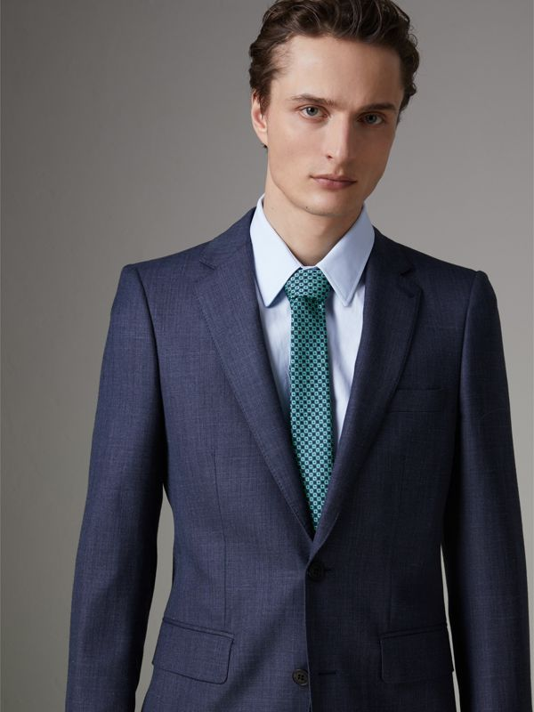 Slim Cut Daisy Silk Jacquard Tie in Turquoise - Men | Burberry - cell image 2