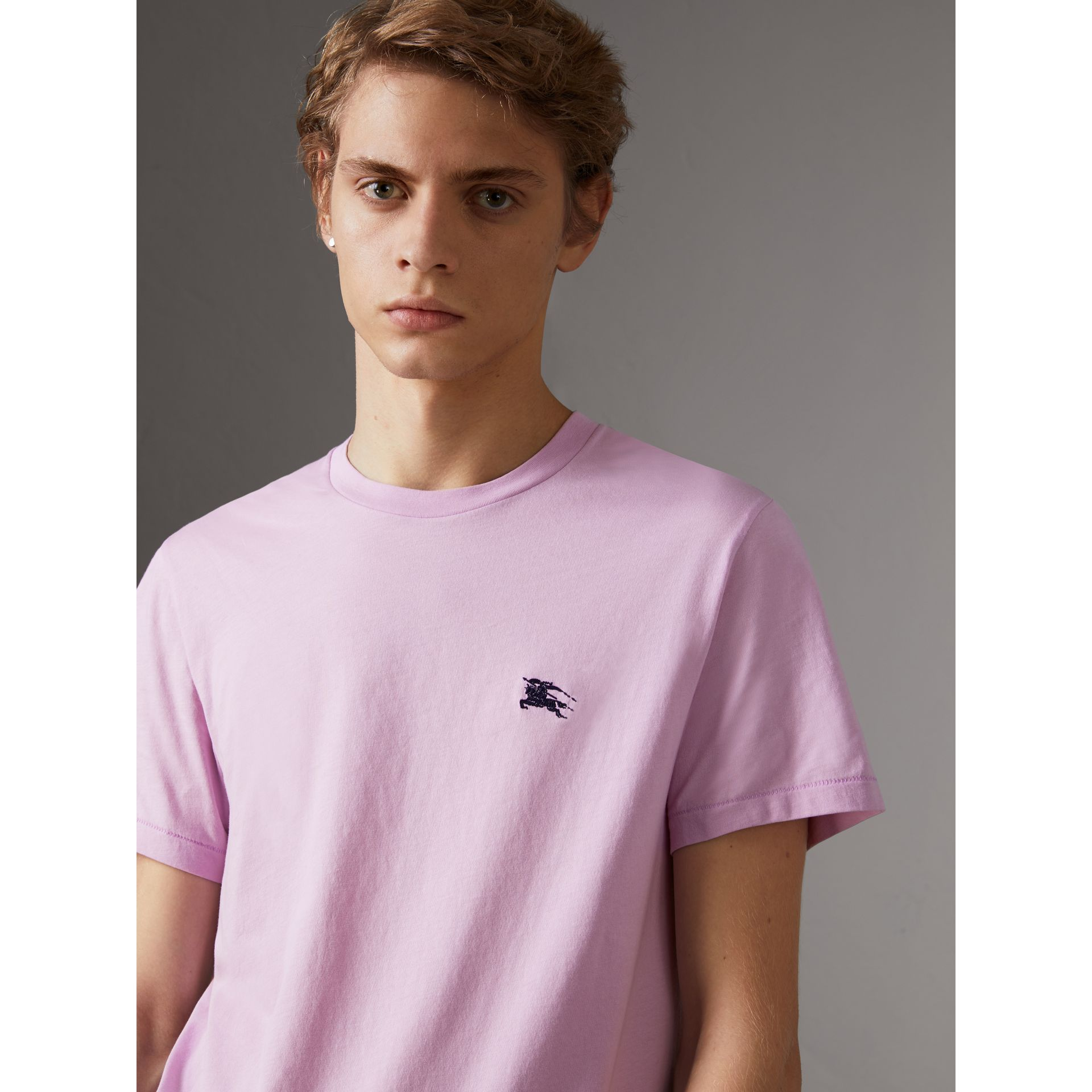 Cotton Jersey T-shirt in Pale Fuchsia - Men | Burberry - gallery image 0