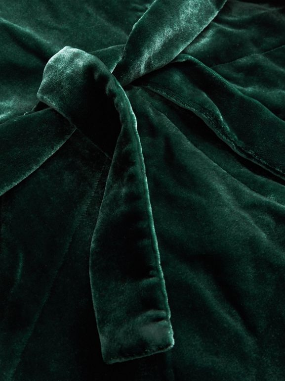 Stripe Detail Velvet Dress in Dark Forest Green | Burberry - cell image 1