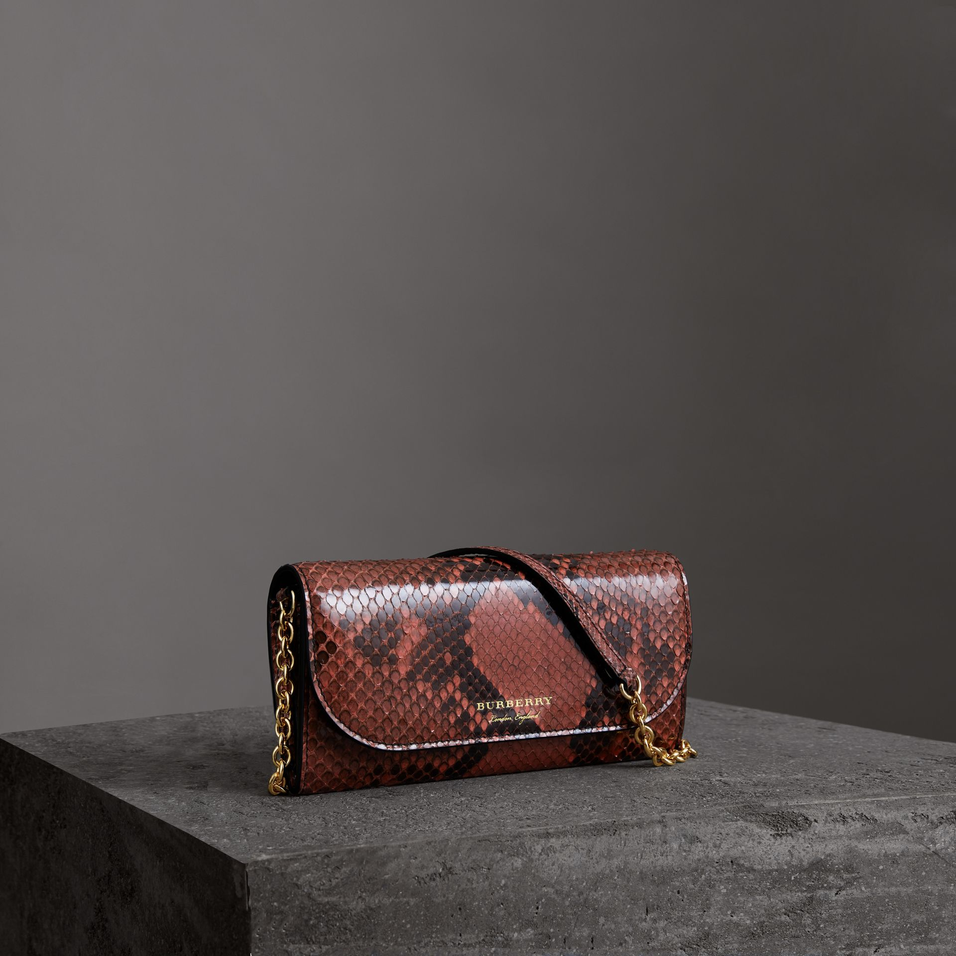 Python Wallet with Chain in Peony - Women | Burberry - gallery image 0