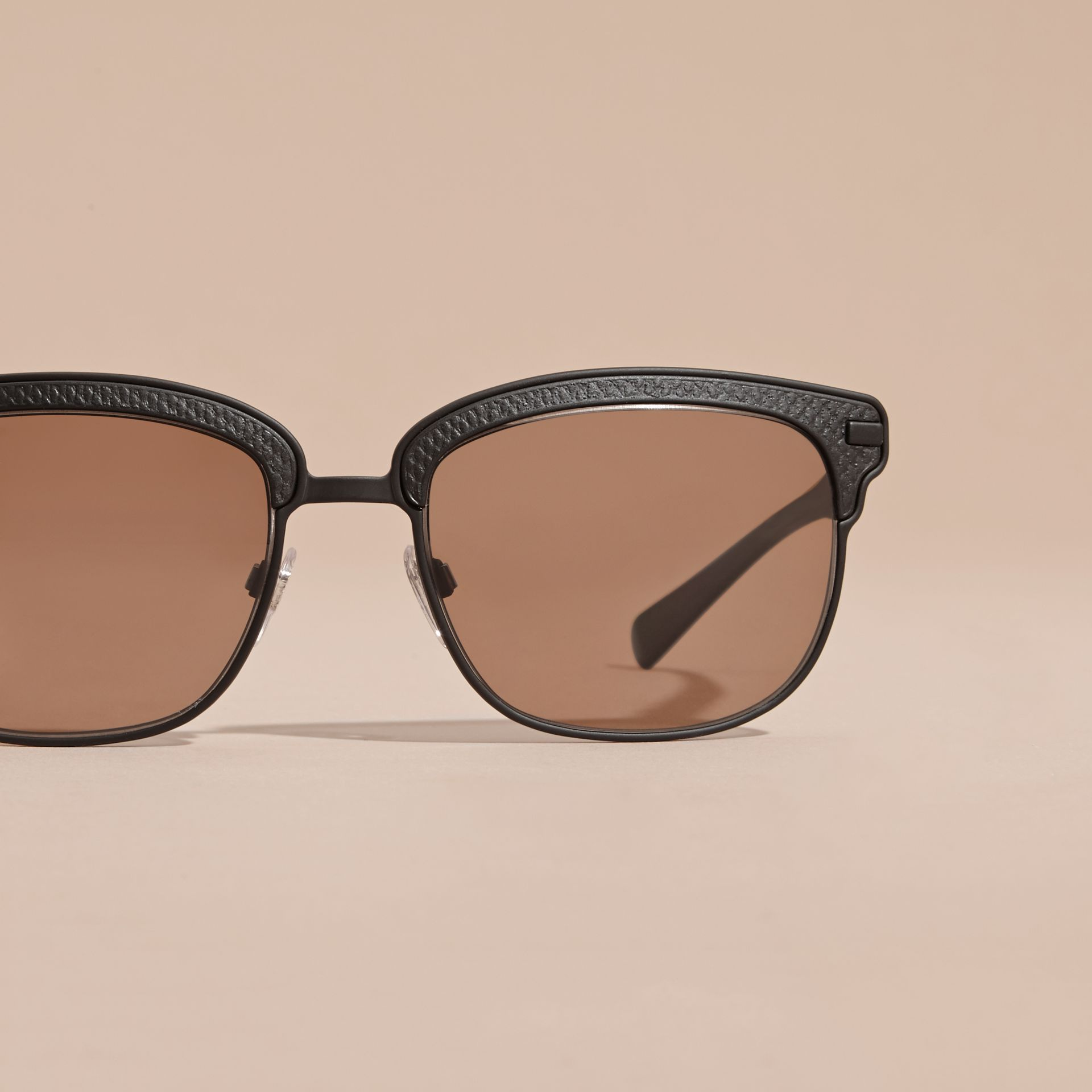 Textured Front Square Frame Sunglasses in Black - Men | Burberry Australia - gallery image 2