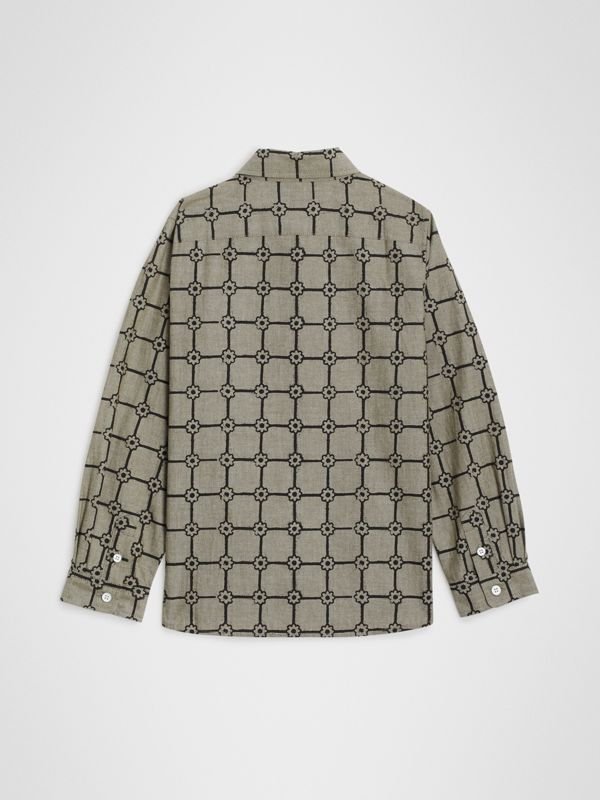 Flower Print Cotton Shirt in Khaki | Burberry - cell image 3