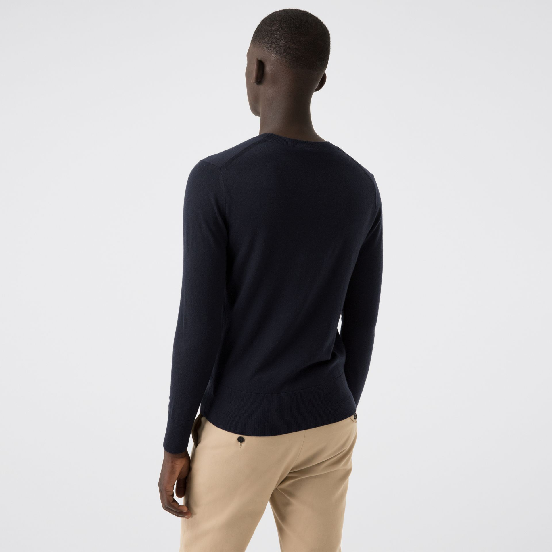 Crew Neck Cashmere Sweater in Navy - Men | Burberry United States - gallery image 2