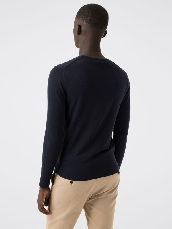 Crew Neck Cashmere Sweater in Navy - Men | Burberry United Kingdom - cell image 2
