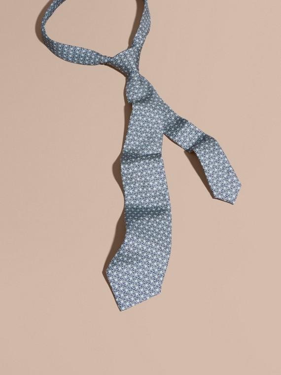 Modern Cut Floral Print Silk Tie White
