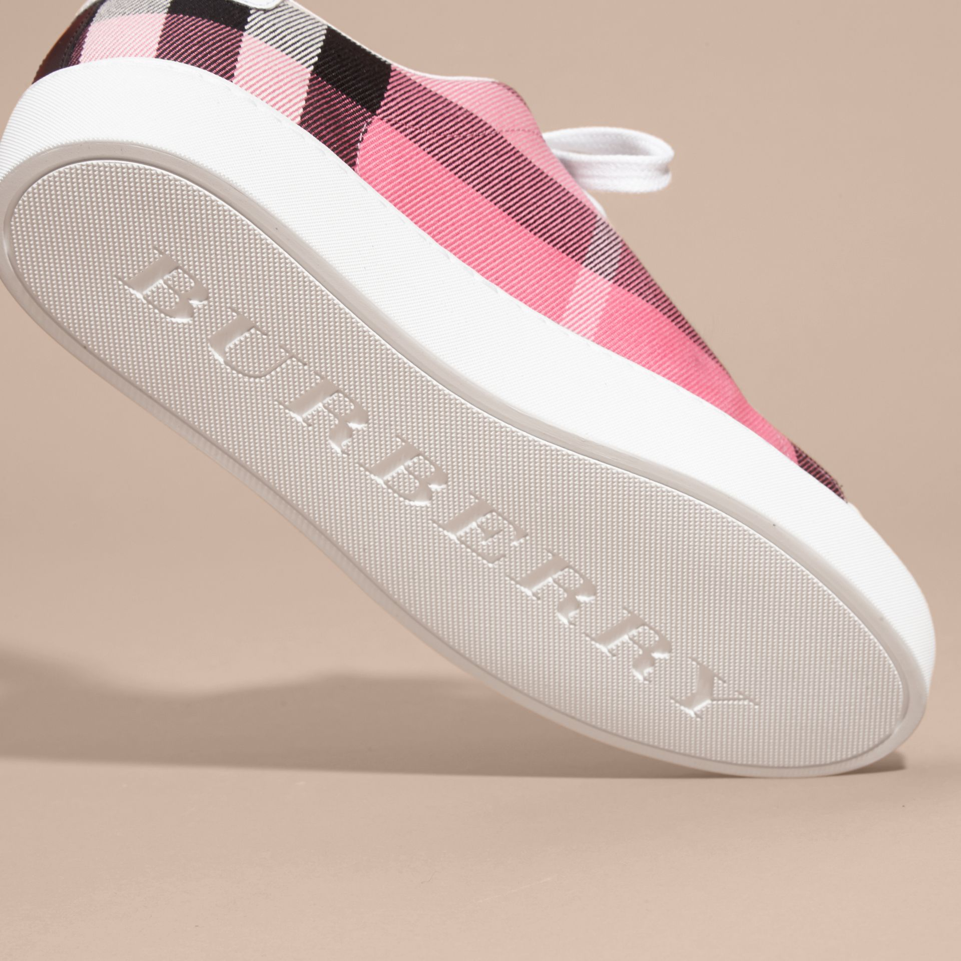 Check and Leather Trainers Rose Pink - gallery image 5