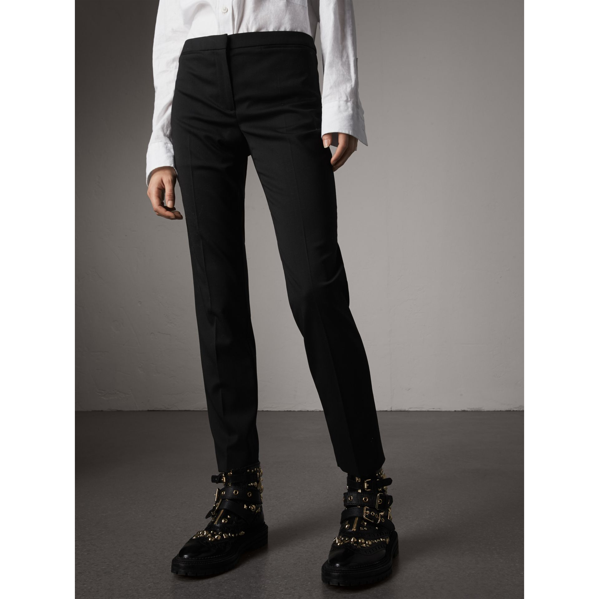 Slim-fit Stretch Wool Trousers in Black - Women | Burberry - gallery image 5