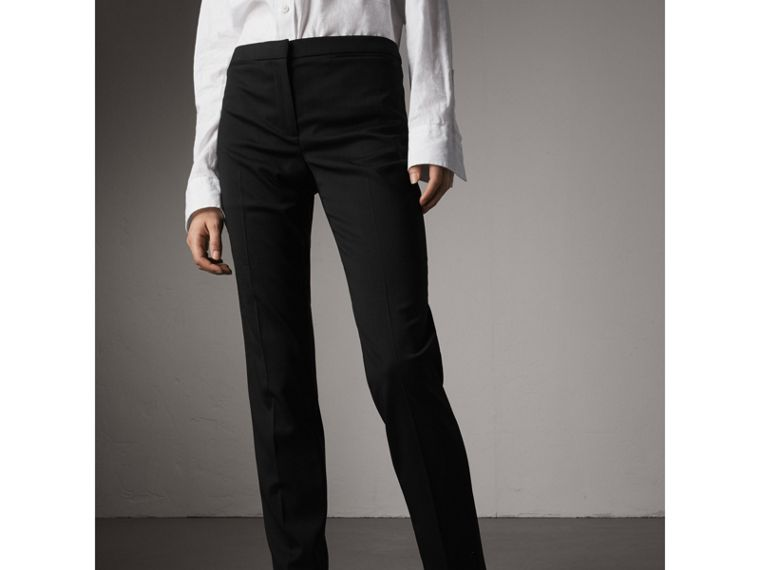Slim-fit Stretch Wool Trousers in Black - Women | Burberry - cell image 4