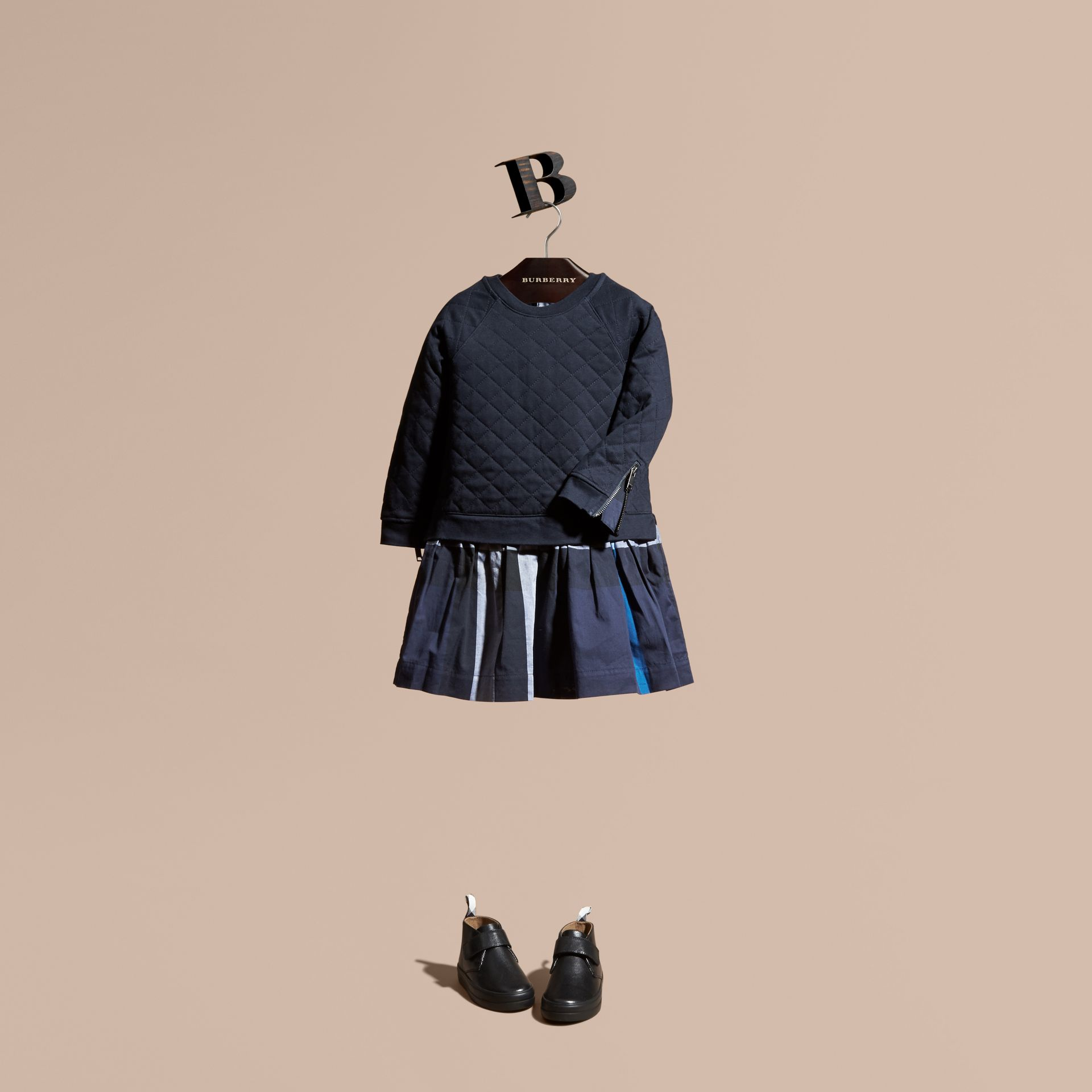 Navy Quilted Jersey and Check Cotton Day Dress - gallery image 1