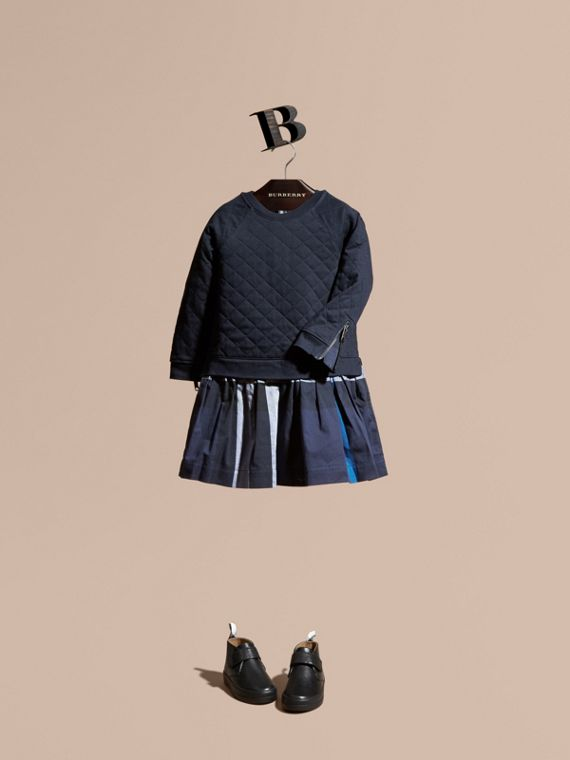 Quilted Jersey and Check Cotton Day Dress Navy