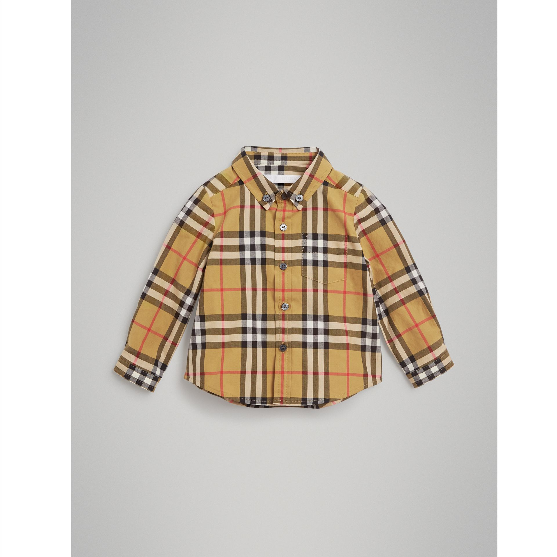 Button-down Collar Vintage Check Cotton Shirt in Antique Yellow - Children | Burberry United Kingdom - gallery image 0
