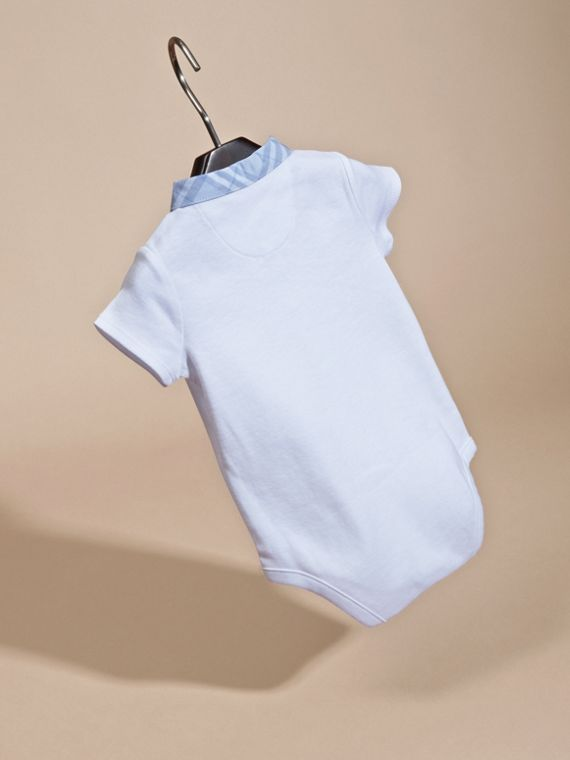 Check Detail Cotton Bodysuit in Ice Blue | Burberry - cell image 3
