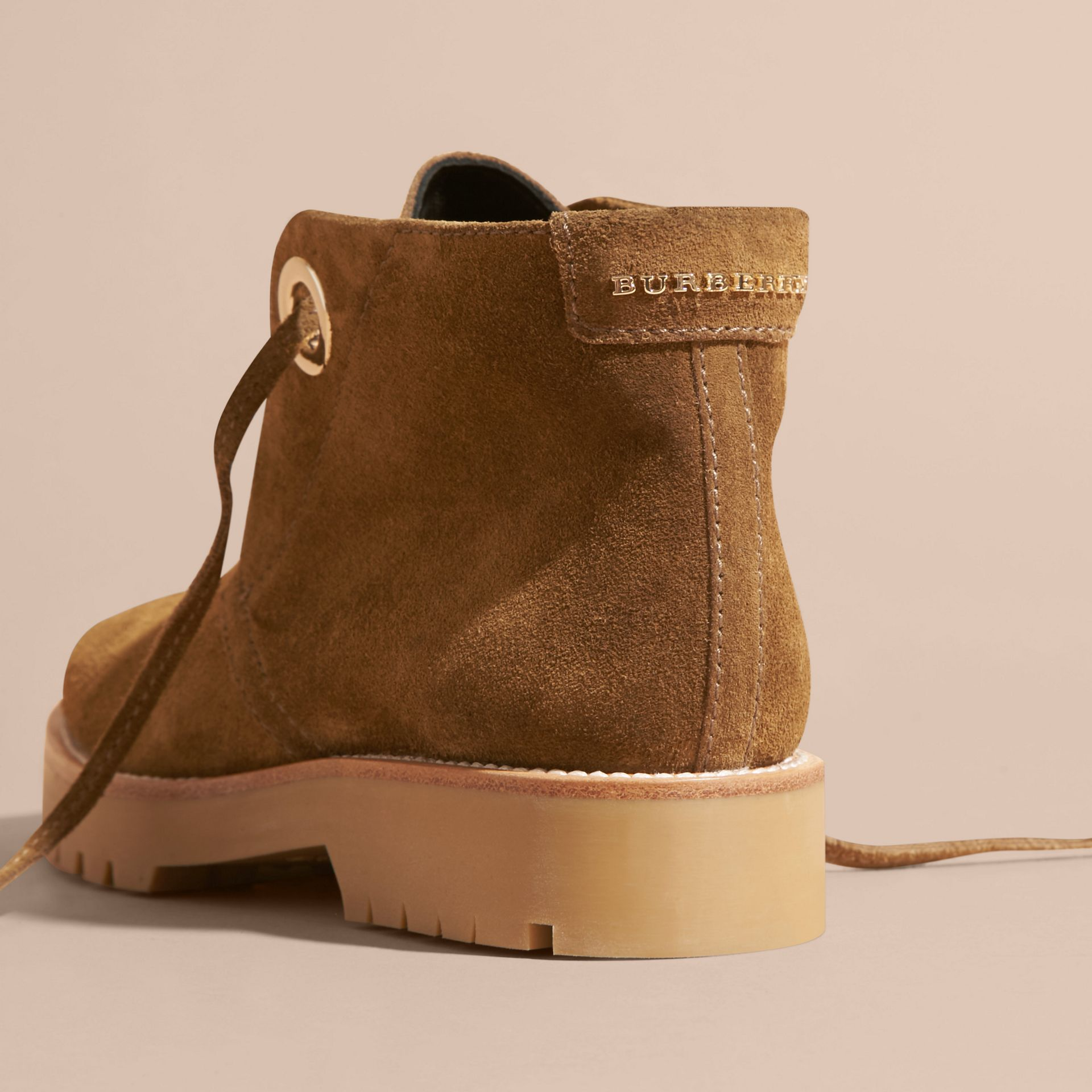 Light oak brown Suede Lace-up Ankle Boots - gallery image 4