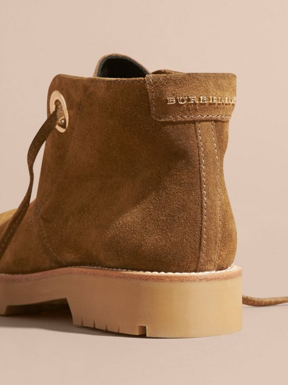 Light oak brown Suede Lace-up Ankle Boots - cell image 3