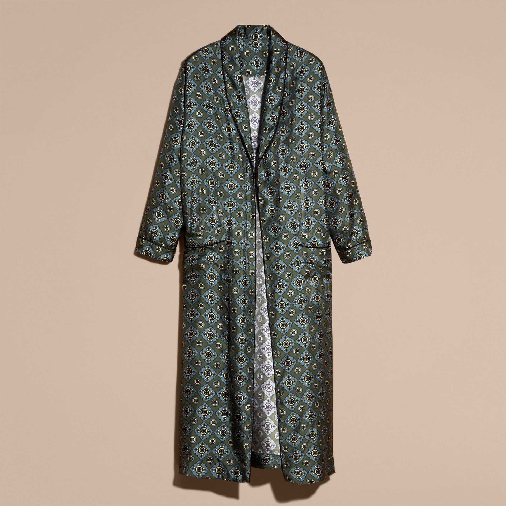 Lawn green Geometric Tile Print Silk Twill Dressing Gown Coat - gallery image 4