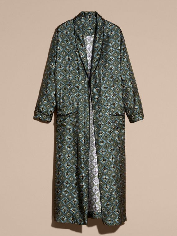 Lawn green Geometric Tile Print Silk Twill Dressing Gown Coat - cell image 3