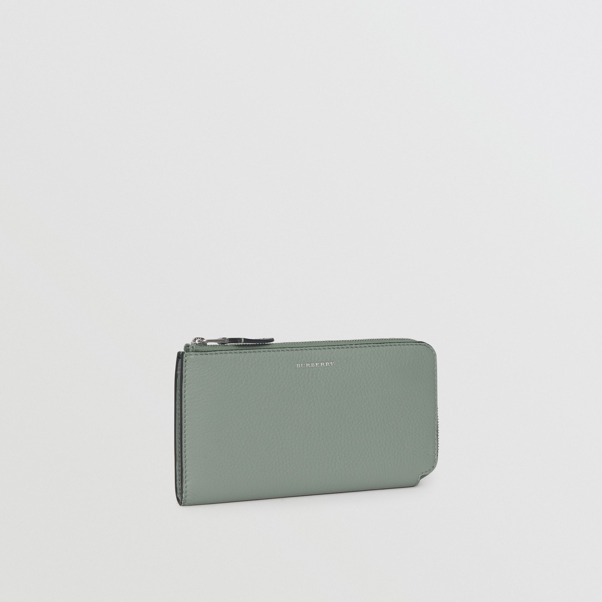 Two-tone Leather Ziparound Wallet and Coin Case in Grey Blue - Women | Burberry United States - gallery image 4
